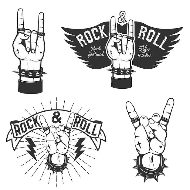 Conjunto das mãos humanas com o símbolo do rock and roll. festival de rock and roll. elementos de design para cartaz, emblema. Vetor Premium