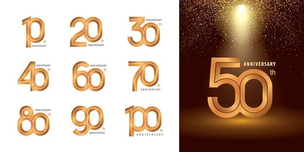 Conjunto de 10 a 100 design de logotipo de aniversário, anos comemoram aniversário logotipo Vetor Premium