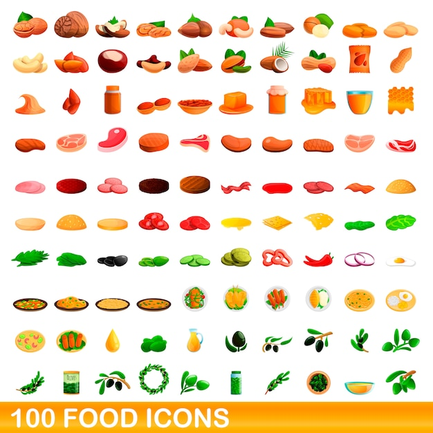 Conjunto de 100 alimentos, estilo cartoon Vetor Premium