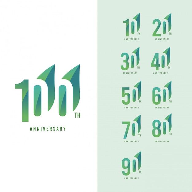 Conjunto de 100 anos aniversário logo vector modelo design ilustração Vetor Premium