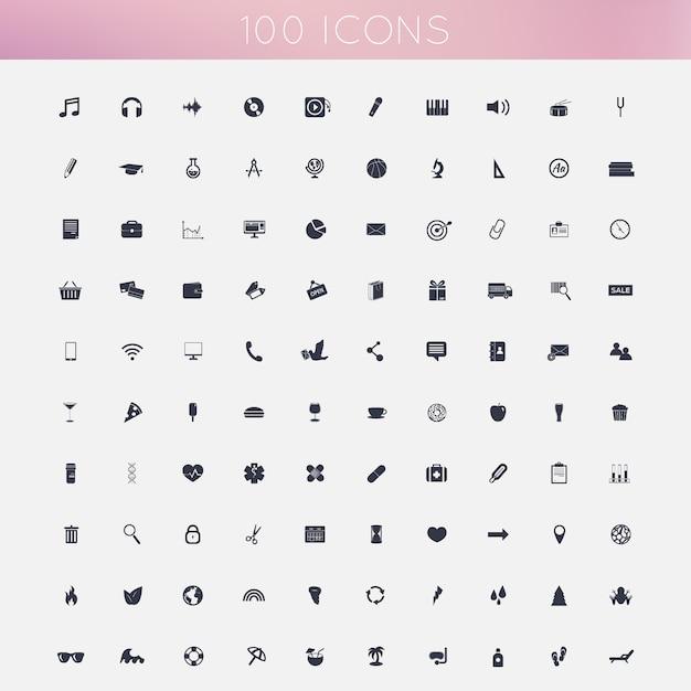 Conjunto de 100 ícones planas Vetor Premium