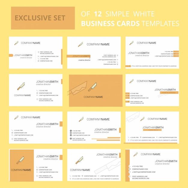 Conjunto de 12 modelos de cartão de visita criativa de faca Vetor Premium