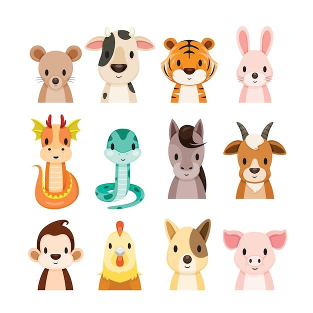 Conjunto de 12 objetos de signos do zodíaco chinês Vetor Premium