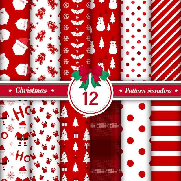 Conjunto de 12 padrão de feliz natal sem emenda. Vetor grátis