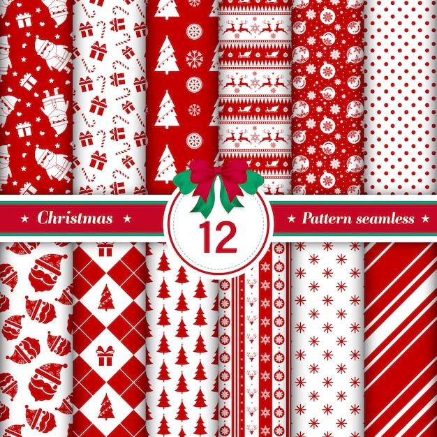 Conjunto de 12 padrão de feliz natal sem emenda. Vetor Premium