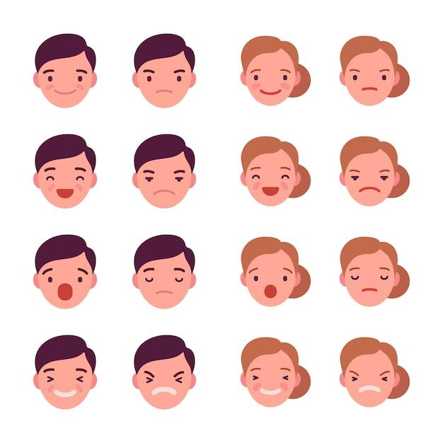 Conjunto de 16 emoções diferentes Vetor Premium