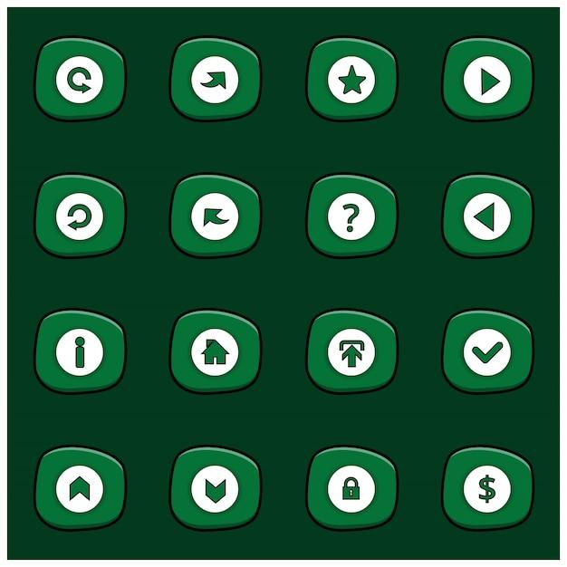 Conjunto de 16 misturar ícones brancos em retângulo verde arredondado sobre fundo verde escuro estilo cartoon Vetor grátis