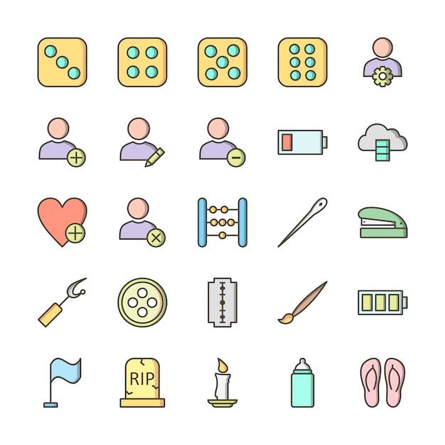 Conjunto de 25 ícones de universal para uso pessoal e comercial ... Vetor Premium