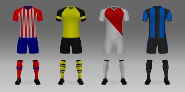 Conjunto de 3d realista modelo futebol jersey atletico, borussia, mônaco, brugge. Vetor Premium