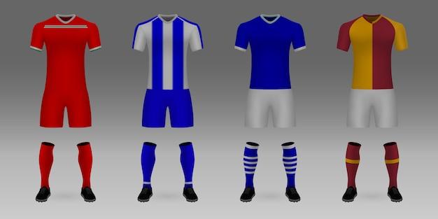 Conjunto de 3d realista modelo futebol jersey lokomotiv moscou, porto, schalke, galatasaray. Vetor Premium