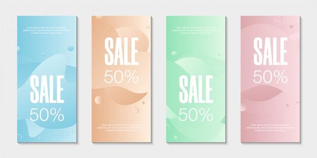 Conjunto de 4 banners líquidos gráficos modernos abstratos. Vetor Premium