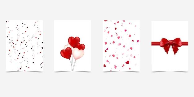 Conjunto de 4 cartões-presente de dia dos namorados com arcos de coração e presente. Vetor Premium