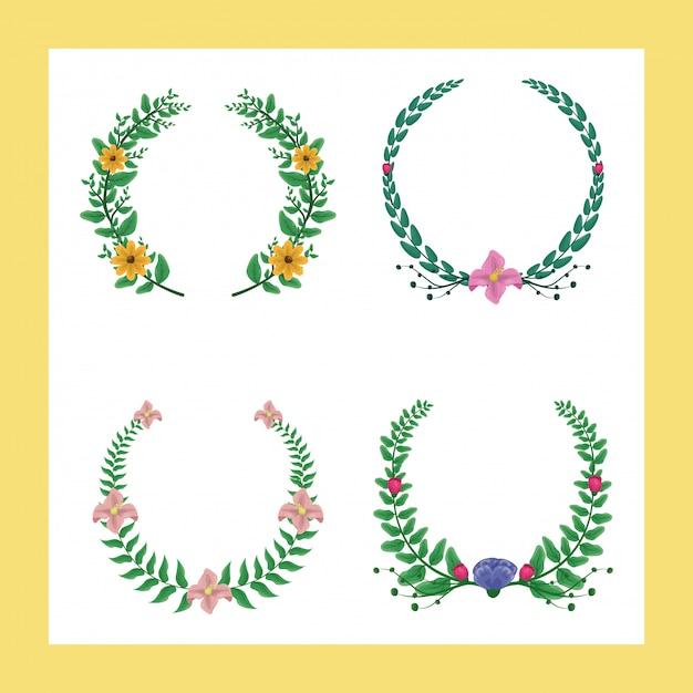Conjunto de 4 coroas de louros com cores verdes e roxas com flores amarelas e rosa Vetor grátis