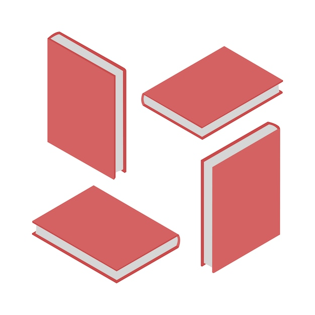 Conjunto de 4 livros isométricos Vetor Premium