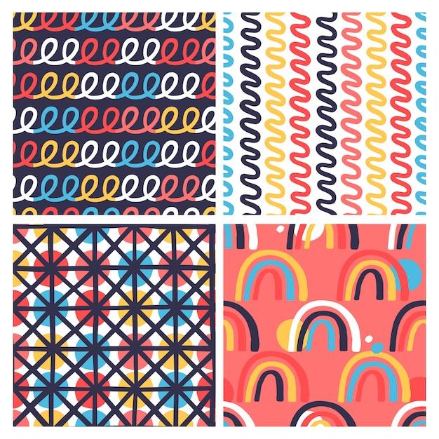 Conjunto de 4 padrão sem emenda criativo com texturas desenhadas à mão Vetor Premium