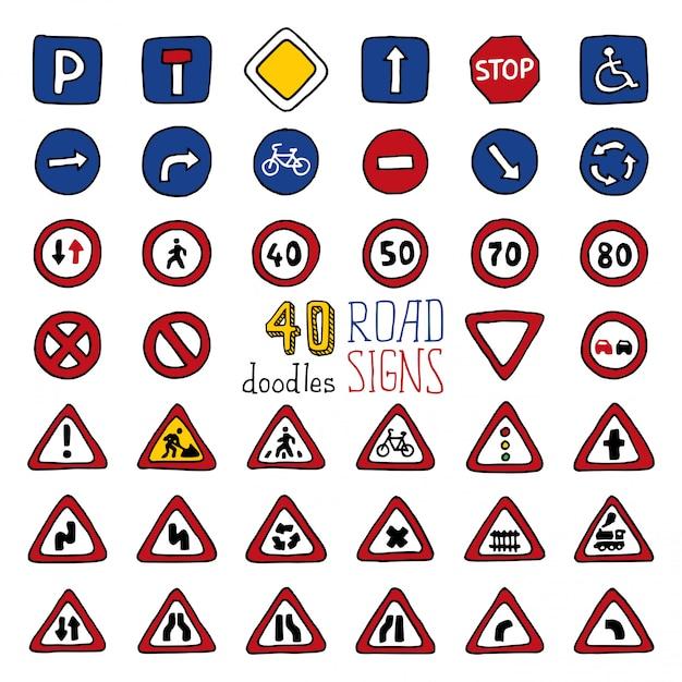 Conjunto de 40 sinais de trânsito de rabiscos. ícones desenhados à mão dos desenhos animados. Vetor Premium