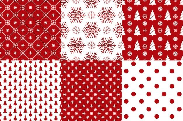 Conjunto de 6 cores vermelho e branco sem costura padrão de natal. Vetor Premium