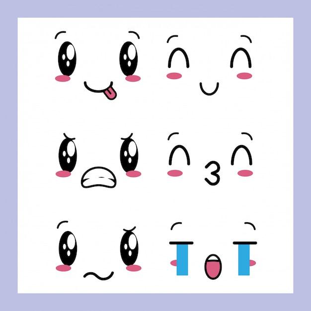 Conjunto de 6 desenhos de expressões kawaii Vetor grátis