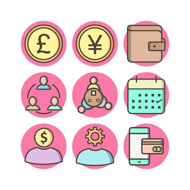 Conjunto de 9 ícones bancários em elementos isolados de vetor branco Vetor Premium