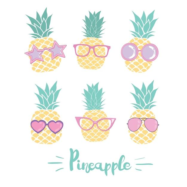 Conjunto de abacaxi em copos em estilos diferentes. ilustração vetorial Vetor Premium
