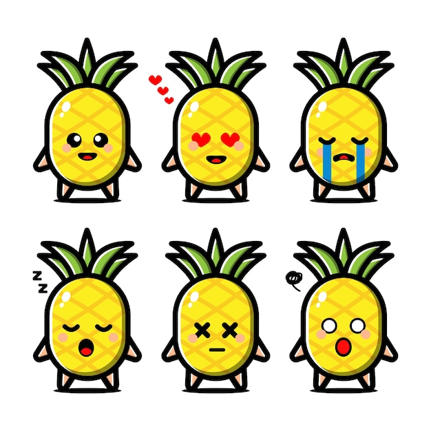 Conjunto de abacaxi fofo com personagem de desenho animado de expressão Vetor Premium