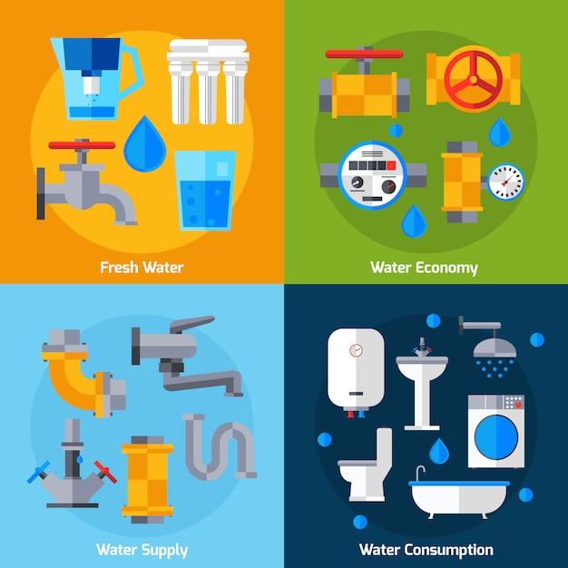 Conjunto de abastecimento de água Vetor grátis