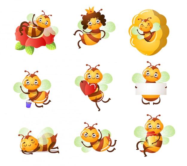 Conjunto de abelhas bonitos engraçadas fazendo ilustração de coisas casuais Vetor Premium