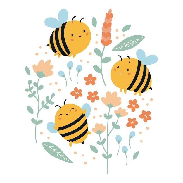 Conjunto de abelhas kawaii engraçadas com flores e folhas. ilustração de verão para crianças. Vetor Premium
