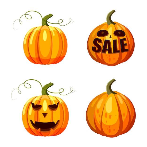 Conjunto de abóbora. conjunto de desenhos animados de abóbora para festa de halloween Vetor Premium