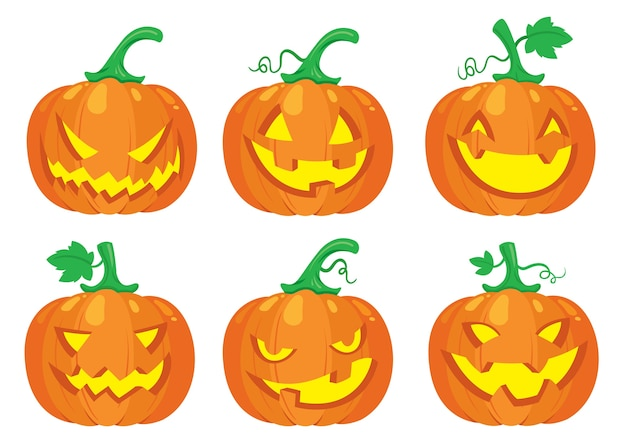 Conjunto de abóbora de halloween Vetor Premium