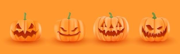 Conjunto de abóboras de halloween, caras engraçadas. férias de outono. Vetor Premium