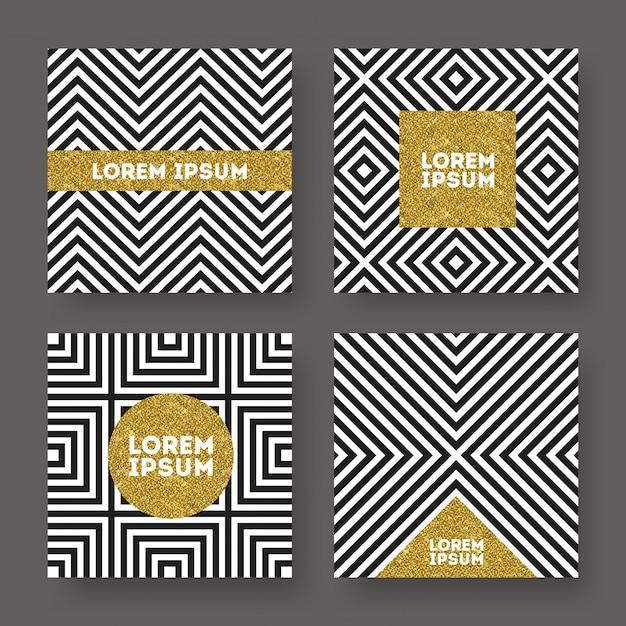 Conjunto de abstrato, banner de ouro glitter em um fundo listrado geométrico preto e branco. Vetor Premium