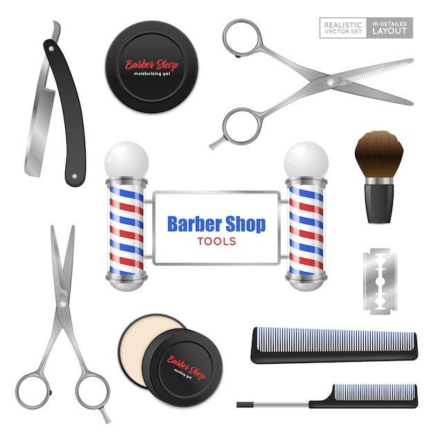 Conjunto de acessórios de barbearia realista Vetor grátis
