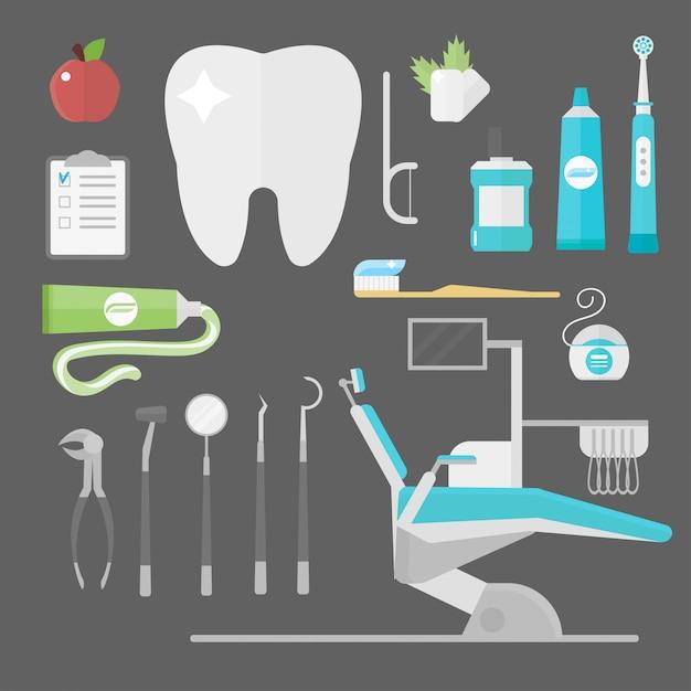 Conjunto de acessórios de dentista de cuidados de saúde plana Vetor Premium