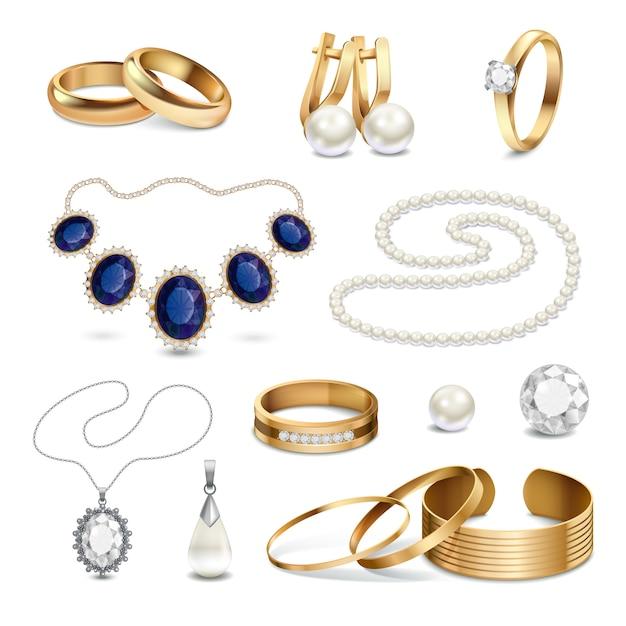 Conjunto de acessórios de jóias realista Vetor grátis