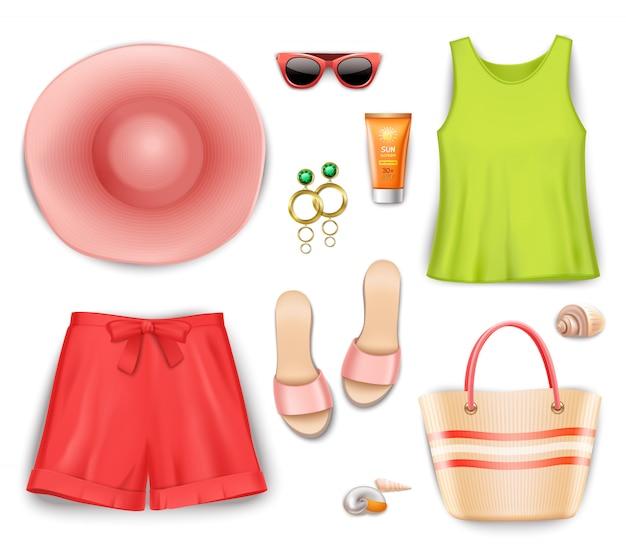 Conjunto de acessórios de roupa de praia de mulheres Vetor grátis