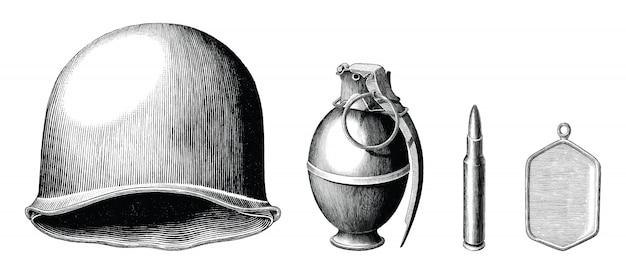 Conjunto de acessórios de soldado mão desenhar estilo vintage preto e branco Vetor Premium
