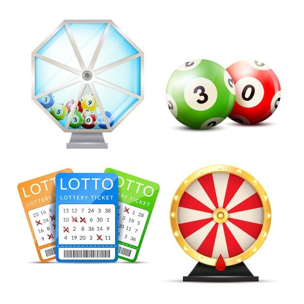 Conjunto de acessórios realista de loteria Vetor grátis