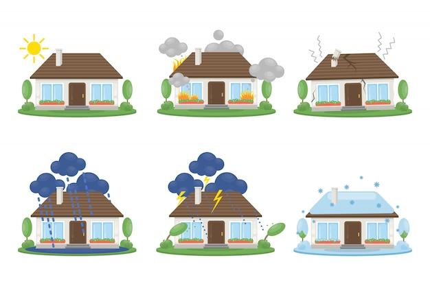 Conjunto de acidentes de casa. fogo e raio, neve e inundação. Vetor Premium