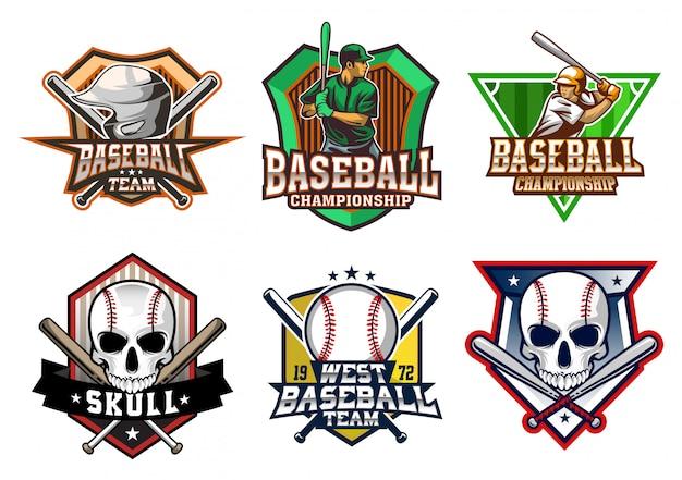 Conjunto de ações de beisebol. Vetor Premium