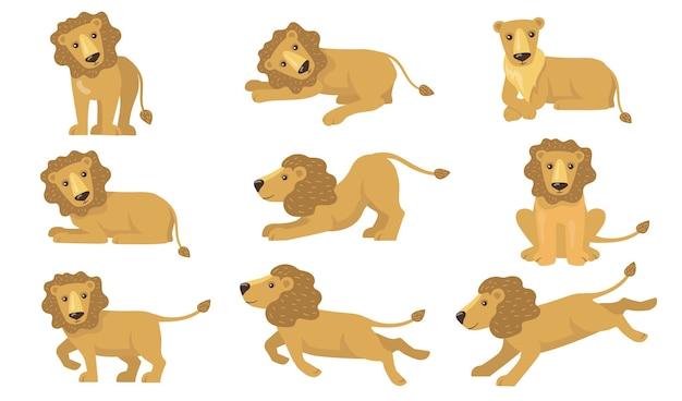 Conjunto de ações do leão dos desenhos animados. animal amarelo engraçado com cauda em pé, mentindo, brincando, correndo, caçando. ilustração vetorial para felino, safari Vetor grátis