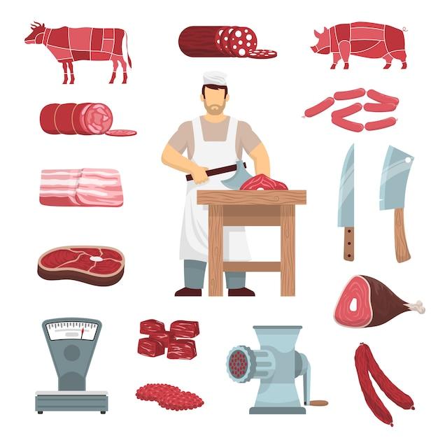 Conjunto de açougueiro de carne Vetor grátis