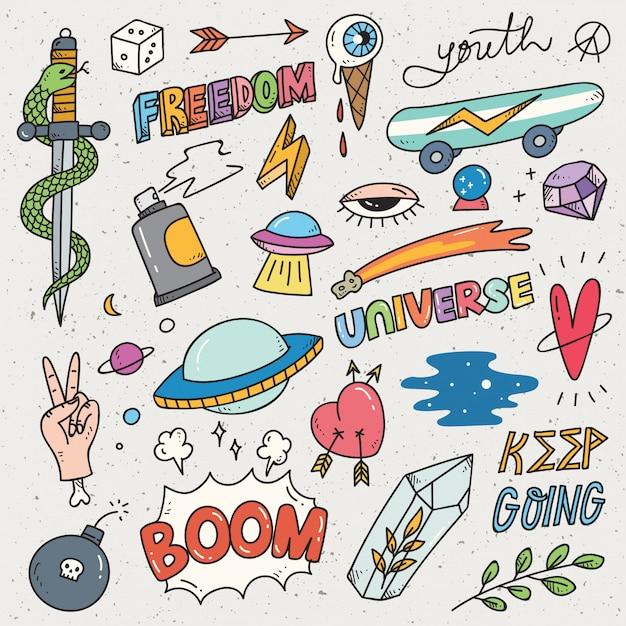 Conjunto de adesivo bonito, graffiti doodle, patches de moda Vetor Premium