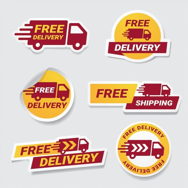 Conjunto de adesivo distintivo entrega gratuita. Vetor Premium