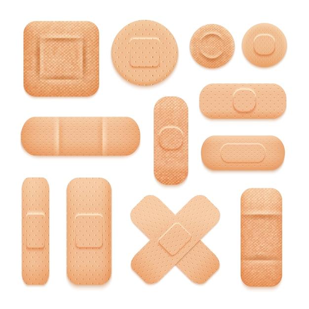 Conjunto de adesivos adesivos de primeiros socorros Vetor grátis