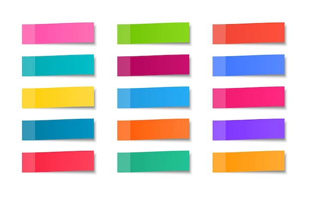 Conjunto de adesivos coloridos. lembretes. papéis de nota realistas. Vetor Premium