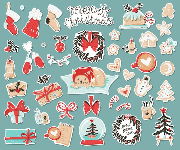 Conjunto de adesivos com artigos de natal. Vetor Premium