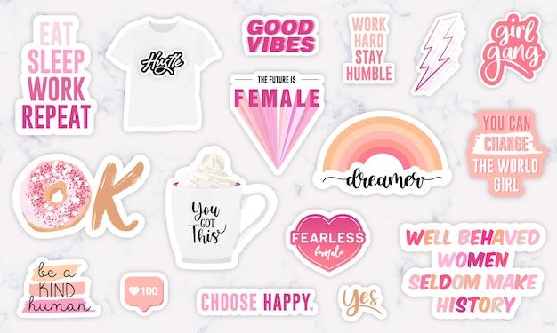 Conjunto de adesivos com frases de motivação do poder feminino Vetor Premium