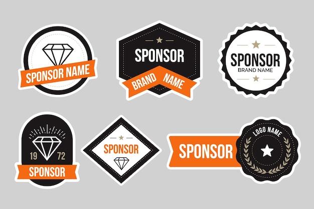 Conjunto de adesivos criativos de patrocínio Vetor Premium