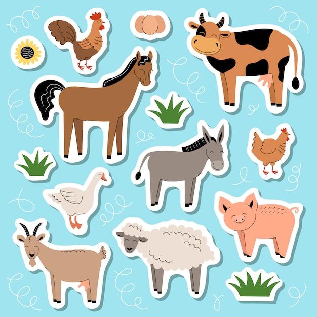 Conjunto de adesivos de animais de fazenda fofos Vetor Premium